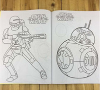 Wholesale Star Wars Cool Colouring Book Star Wars The Force Awakens Stickers Coloring Book Darth Vader R2D2 Stormtrooper Yoda Coloring Books m1064