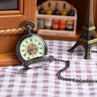 antique vintage display case - Fashion Classic Roman Unisex Antique Models Vine Roman Numerals Display Pocket Watch Black Case Mechanical Pocket Watch