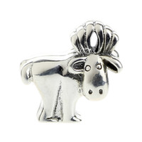 alaskan animals - Beads Hunter Jewelry Authentic solid Sterling Silver Alaskan Moose Charm fashion big hole bead For mm European Bracelet snake chain