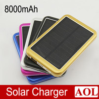 Wholesale Portable Mobile Phone Battery mah Extend Mobile Power Bank W Solar Panel Charger for Samsung iPhone iPad iPod HTC LG SONY