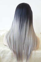 Cheap 2015 New Fashion 100% virgin brazilian glueless ombre grey lace front wig two tone gray human hair full lace wigs free shipping
