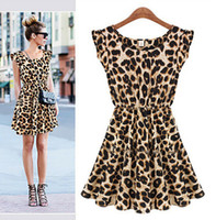 leopard print mini dress - Retail Sexy Women Ruffles Leopard Print Casual Party Tunic One Piece Novelty Skater Swing Mini Dress Sundress S