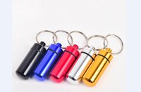 waterproof container - key holder Aluminum Waterproof Pill Shaped Box Bottle Holder Container Keychain Keyring keychain box pill metal case