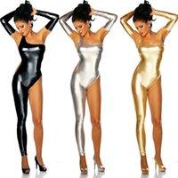Wholesale Black Gold Silver Lady Gaga Sexy Clubwear Pole Dance Lingerie Bodysuit Low Cut Out Stretch Punk Catsuit Leotard Limit Promotion