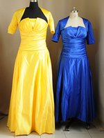 Wholesale New Retail Cheap Strapless Yellow Real Sample Ruffle Floor Length Mother of The Bride Dresses With Jacket w