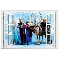 al por mayor pegatinas de pared removible-45 * 60cm carácter pared pegatinas ventana de la casa de decoración pegatinas extraíble pegatinas de pared 3D se dirigen la decoración elsa Movie Wall Stickers abrir la ventana