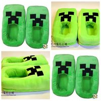 Wholesale 2014 Minecraft JJ winter warm men women adults boys girls christmas free size thicken slippers indoor plush antislip shoes topB985 pairs