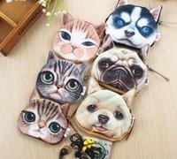 Cheap 2015 New 3D Printer Cat face coin purses wallets handbags Zipper Purse cute Harajuku Star who meow dog clutch purse Cute Harajuku Purse