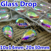 Wholesale 10x14mm x18mm x25mm x30mm Crystal AB Color Drop Pear Droplet Pointback Glass Crystal Fancy Stone