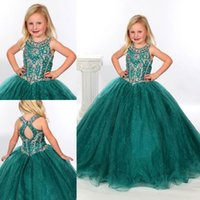Wholesale Girls Pageant Dresses Teal Organza Ball Gowns Beaded Crystals Scoop Neckline Long Floor Length Kids Flower Girl Party Gowns