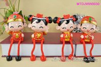 Cheap Chinese Traditional Wedding Couple Resin Best Red Lucky Wedding Doll Car Ornament