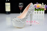 Cheap Silver Custom plus size wedding shoes crystals rhinestones bridal wedding Pumps shoes Diamond women Shoes Party Prom High Heels shoes
