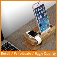 Wholesale New Arrival in Charging Dock Bamboo Wood Stand for Apple Watch iPhone6 Plus Phone Stand Holder Wooden Charing Dock