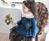 beaded denim jacket - Children Denim Coat For Winter Hot Sale Girls Velvet Beaded Zipper Outwear Fashion Kids Clothing Fit Age SS853