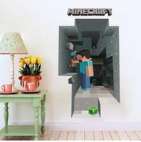 Wholesale 2015 D Minecraft Wall Sticker Cartoon Wallpaper D Decorative Wall Decals Wallpaper Party Decorations Decor