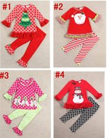 Wholesale Hot Sale Baby Girl Christmas dress set Long sleeves tunic dress Ruffled leggings T set