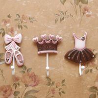 ballet crowns - Deal Ballet shoes Princess dress crown Clothes Hook Hangers resin Decorative Coat Hooks Wall Mounted Creative Hook