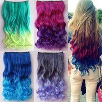 Wholesale Cosplay Colorful Clip On In Hair Extension Wig Piece One style Curls Gradient Hair Piece