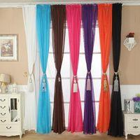Wholesale Trustworthy Solid Color Tulle Door Window Curtain Drape Panel Sheer Scarf Valance Cami