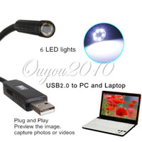 Wholesale New HOT Mini mm Dia USB Endoscope MP P HD Endoscope Waterproof Camera LED VGA COMS Camera