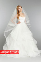 Wholesale Simple Design Ball Gown Wedding Dresses Sweetheart Court Train Organza Tiers With Wedding Veil Under