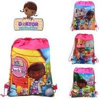 Wholesale 34 cm Cartoon DOC Mcstuffins Little Doctor Nurse Bags Child Girls Randoseru School Drawstring Bag Non woven Fabrics Children Bags L1849