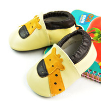 Unisex animal friendly shoes - 2015 new Spring Autumn Handmade Genuine Leather baby First Walker baby shoes Non skid environmental friendly deer Giraffe design