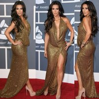 Cheap Grammys Kim Kardashian Celebrity Evening Dresses Halter Backless Split Side Floor Length Gold Sequins Formal Prom Dress Cheap Party Gowns