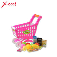 Wholesale Mini Children Supermarket Plastic Shopping Cart with Full Grocery Food Playset Toy for Kids XC1302