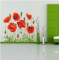 Wholesale Promotion hot selling cm cm removable Beautiful Home Decoration Red Flowers Wall Sticker Decor Decal
