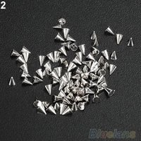 Cheap Wholesale-200Pcs Fashion nail accessory Metal Punk Metallic Cone Spikes Nail Art DIY Tip Decoration Rivet 1DXD