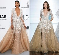 annual orange - 2016 Zuhair Murad Dresses On th Annual Cannes International Film Festival Formal Celebrity Red Carpet V Neck Long Sleeve Dresses