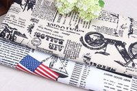 cotton - New print cotton canvas fabric sofa set Tablecloth DIY material English Newspaper Print and national flag Priint Meters
