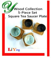 Wholesale Wooden Round Coaster Set mini teacup holder stand Square Tea Saucer Plate Chinese kungfu tea cup sets serving tray tea ceremony accessories