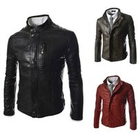 Wholesale PU leather jacket men winter jackets and coats stand collar windproof casual high quality slim fit mens motorcycle jacket