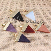 Asian & East Indian amethyst rock crystal - Classic Gold Plated Amethyst Rose Quartz Rock Crystal Agate Stone triangle shape Healing Piont Pendant Jewelry