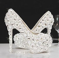 Wholesale Spakly Party Wedding Shoes With Crystals Beading Women Pumps For Party Summer Bottom High Heels Bridal Wedding Shoes Women Hot Sales