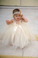 Wholesale champgne beaded lace newborn baby flower girls dresses spaghetti ball gown infant little girls pageant dresses formal for wedding