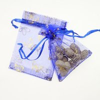 Cheap Wholesale 100pcs lot 7x9cm Small Royal Blue Butterfly Birthday Party Favor Bags Tulle Wedding Gift Packaging Bags & Pouches