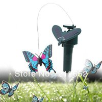Wholesale Free shiping New Solar Powered Simulation Butterfly Flying Fluttering Papilionidae for Garden Plants Flowers Color Assorted