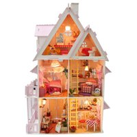 Wholesale 2016 New Wooden Dollhouse Furniture Kids Toys Handmade Gift Diy Doll House Kits With LED Stuff Home Decor Craft Doll Houses Miniature X001