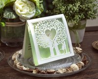 Wholesale 2016 spring new set seal green top fold Greeting Cards laser cut loving tree Wedding Invitation