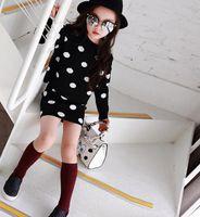 Cheap 2015 Modern Baby Girls 2pcs Causal Sets Polka Dots Crochet Sweater + Skirt Cotton Outfits Girl's Children Cloth Black K5153