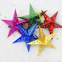 Wholesale 30 cm Christmas decorations stereoscopic pentagram multicolor star Ceiling Strap Christmas paper star Christmas tree hang Decorations