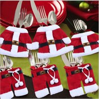 Wholesale Christmas Cutlery Silverware Decoration Suit Santa Holder Pockets Red VB872 W0