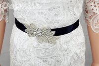 Mariage strass robe de cristal France-Noir Belle Brillant Luxueux Exquise Perle Femme Bridal Sash Avec Crystal Rhinestone Formal Mariage Gown Ceintures Accessoires