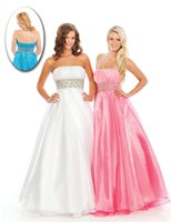 Cheap 2015 A Line Crystals Beading Sash WOW Prom Dresses 3027 Strapless Ruched Organza Floor Length Backless Zipper Winter Formal Evening Gowns