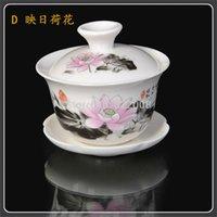 tea sets wholesale - Two Pieces Porcelain Gaiwan Tureen Tea Set Chinese Kung Fu Tea set
