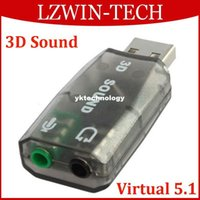 Wholesale Virtual USB D Surround Sound Card Mic Speaker Audio Adapter Audio Controller for PC Laptop
