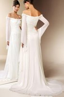 Wholesale Off Shoulder Long Sleeves Chiffon Wedding Dress Vintage Beach Bridal Gown